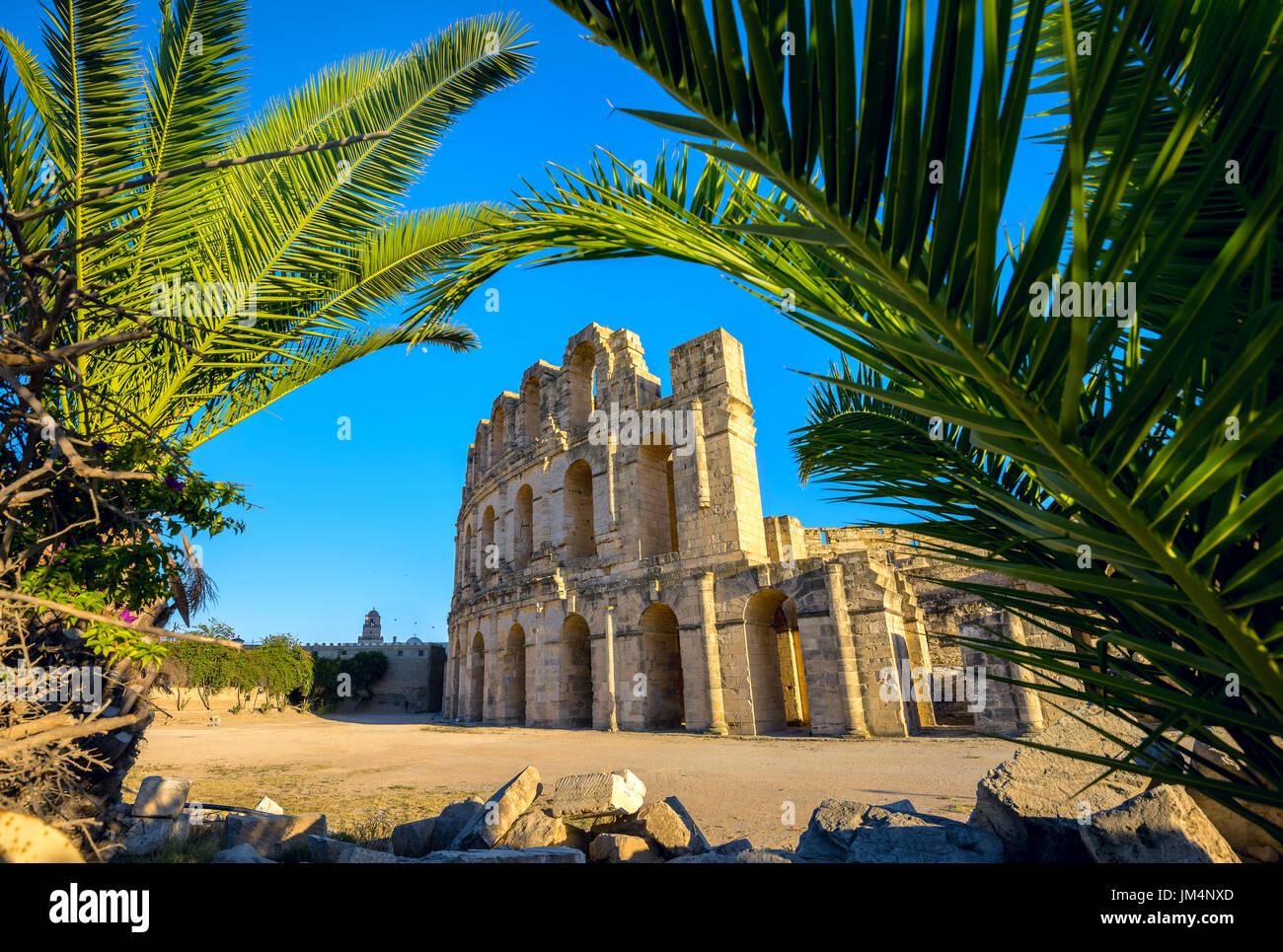 Ancien amphithéâtre romain d'El Djem. Le gouvernorat de Mahdia, Tunisie, Afrique du Nord Photo Stock