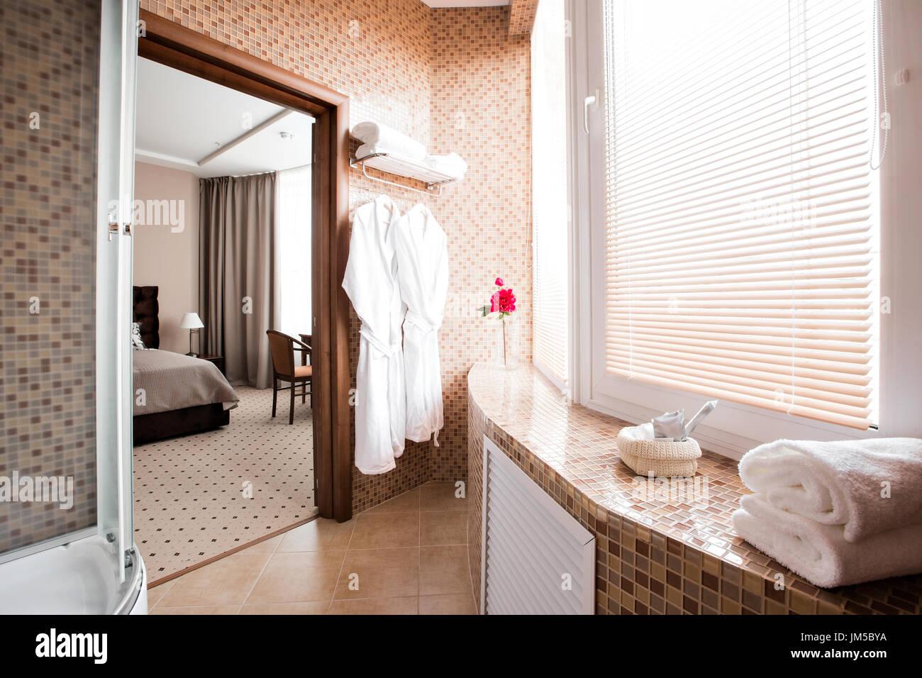 Salle de bains de luxe moderne avec cabine de douche et fenêtre ...