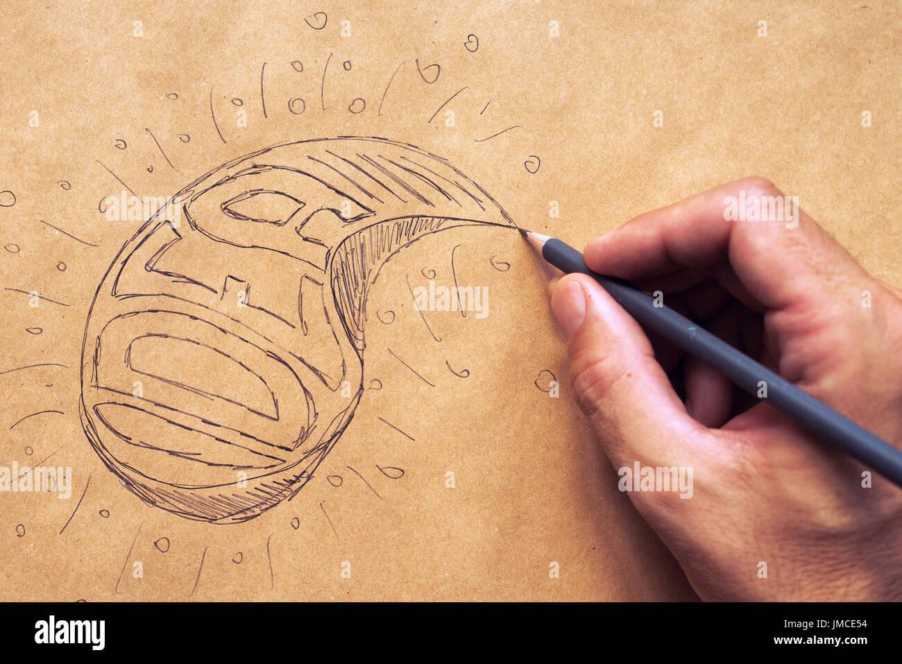 Les nouvelles idées et l'innovation, la créativité en design graphique, illustration et l'écriture Banque D'Images