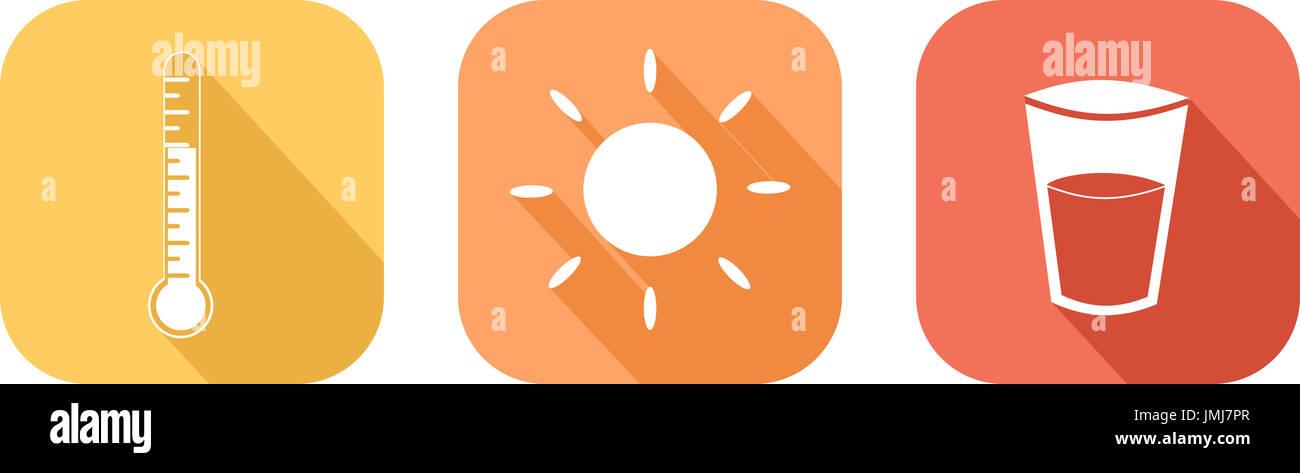 Icône qui illustre la haute chaleur et les précautions qui doivent être prises pour vous protéger Photo Stock