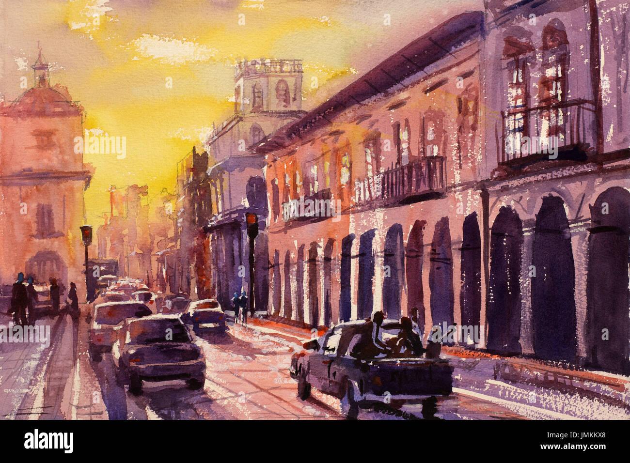 L'aquarelle de buidlings coloniale dans le patrimoine mondial de l'Unesco ville de Cuenca (Equateur) au coucher du soleil. Cuenca Equateur art peinture Photo Stock