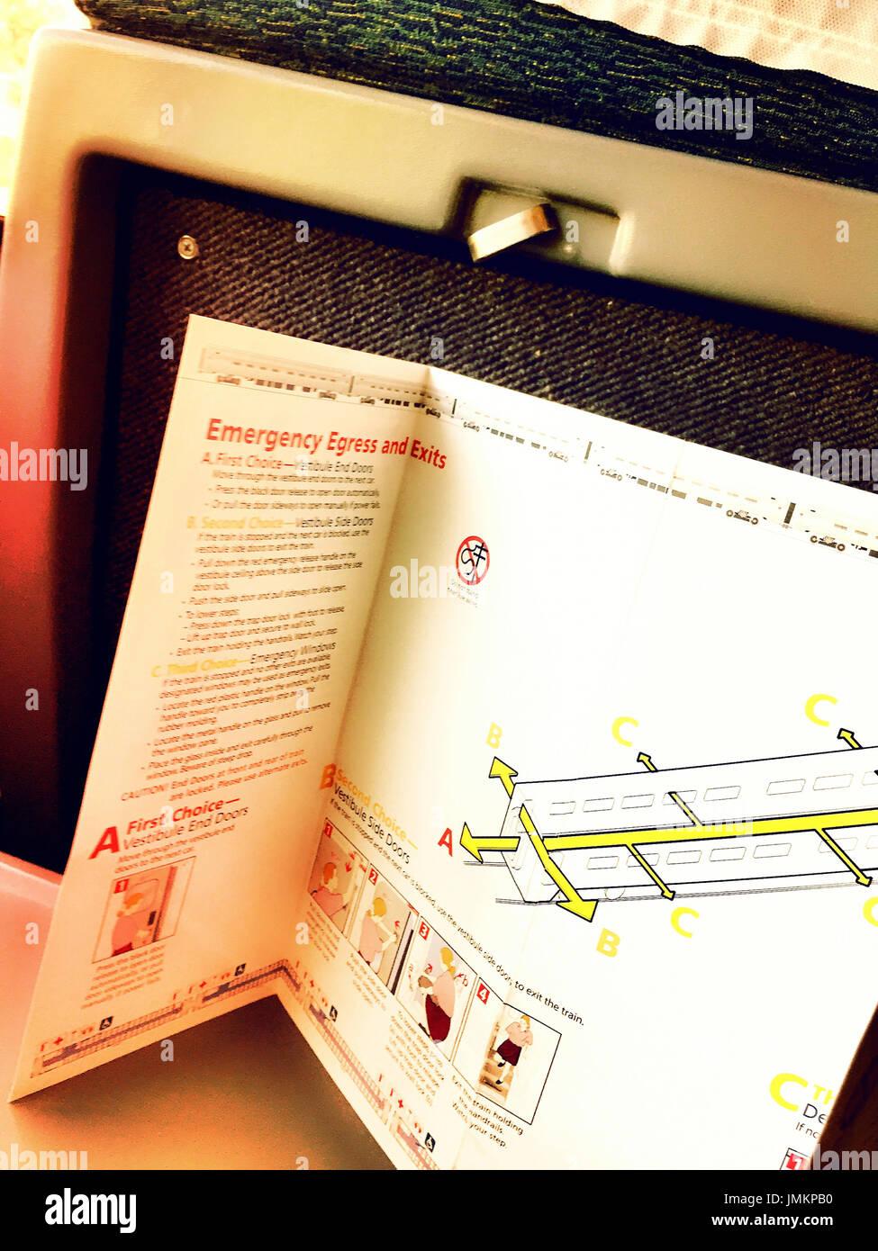 Instructions de sécurité client Brochure sur la gare Amtrak, USA Photo Stock