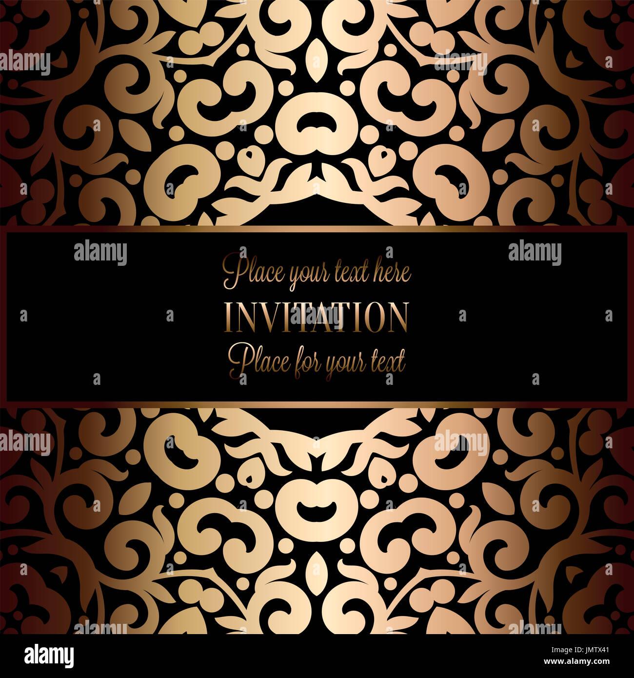 Résumé fond d'antiquités, noir et or de luxe, vintage victorian banner, revêtement papier peint à fleurs d'ornement, Banque D'Images