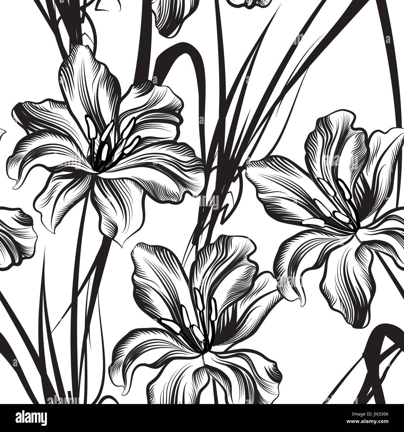Motif floral fleur fond transparent.. floral seamless