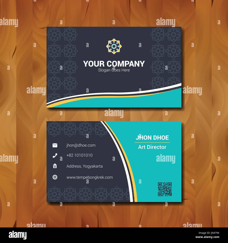 Conception De Carte Visite Simple Avec Le Logo La Societe Sur Fond Bois