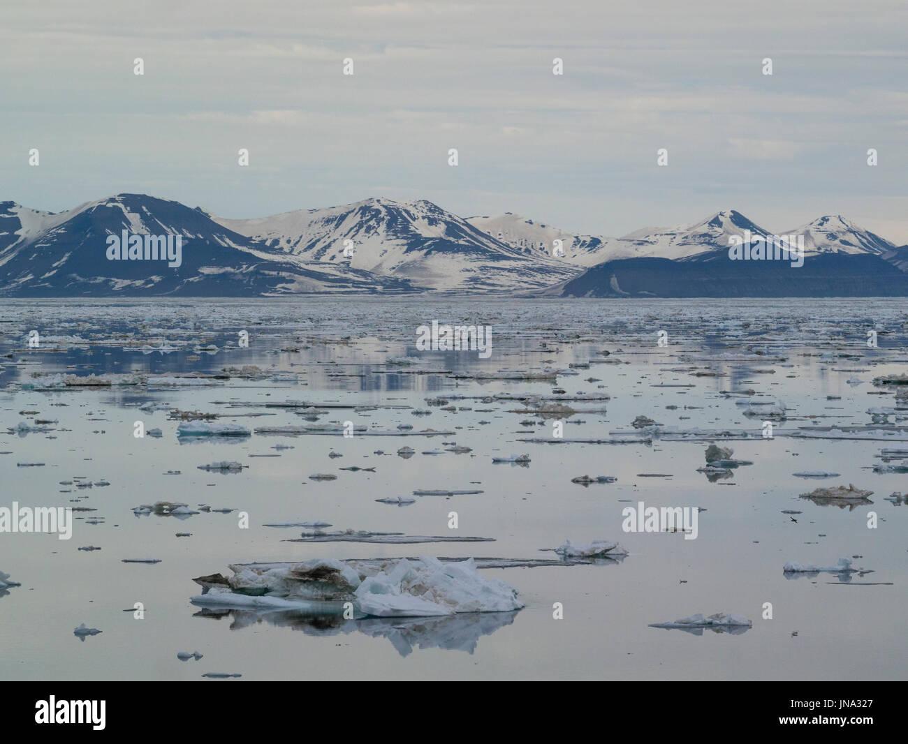 Plaques de glace couvrant les eaux de la grande baie marine Storfjorden entre l'île du Spitzberg à l'ouest et les îles de Barentsøya et Edgeøya à l'Est Photo Stock