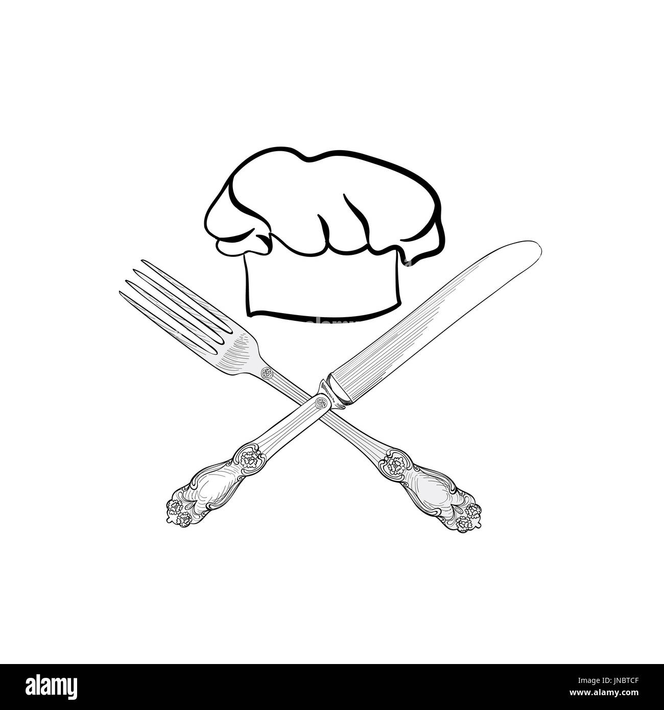 Chef Cuisine Hat Avec Fourchette Et Couteau Dessin Croquis