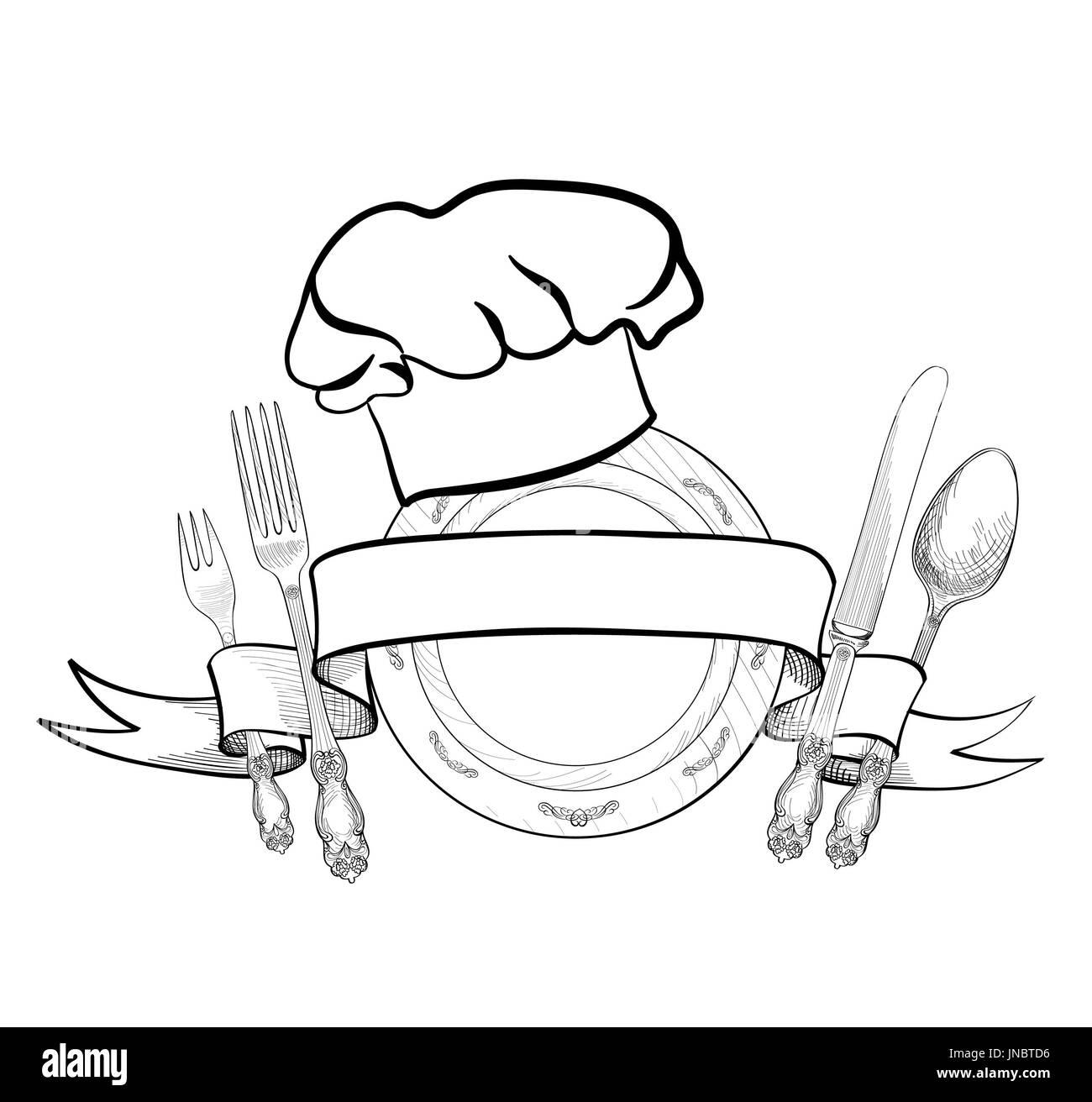 Chef Cuisine Hat Avec Fourchette Cuillere Couteau Et Croquis
