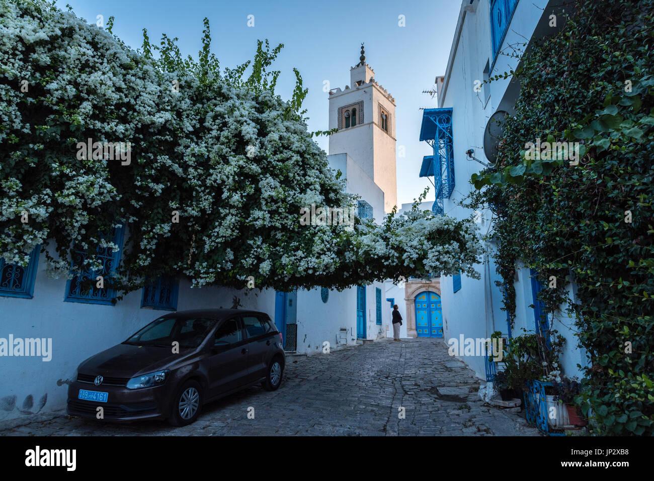 Voiture dans une ruelle, et de la Mosquée Photo Stock