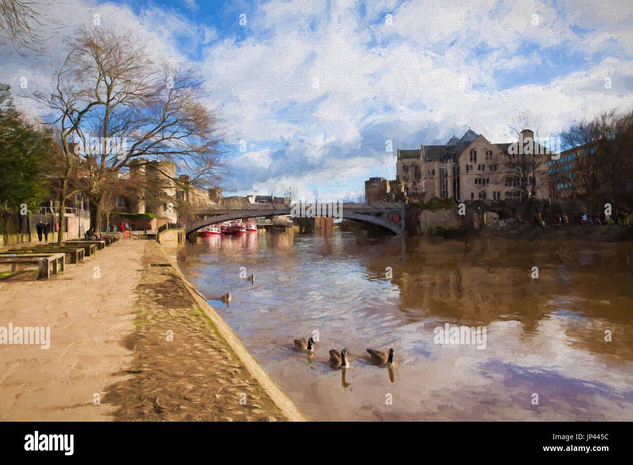 York Angleterre Lendal bridge dans le Yorkshire historique en ville station road illustration comme la peinture à l'huile Photo Stock