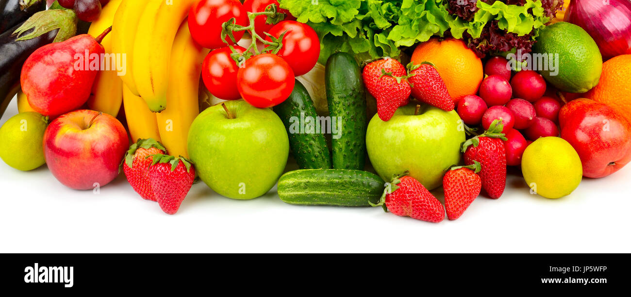 Les fruits et légumes frais collection isolated on white Photo Stock