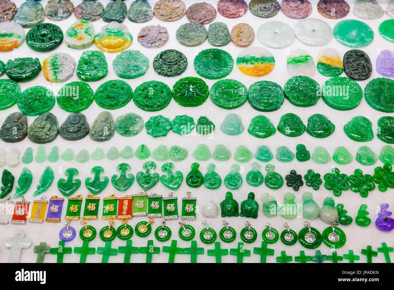 La Chine, de Hong Kong, Stanley Market, l'affichage de bijoux de Jade Banque D'Images