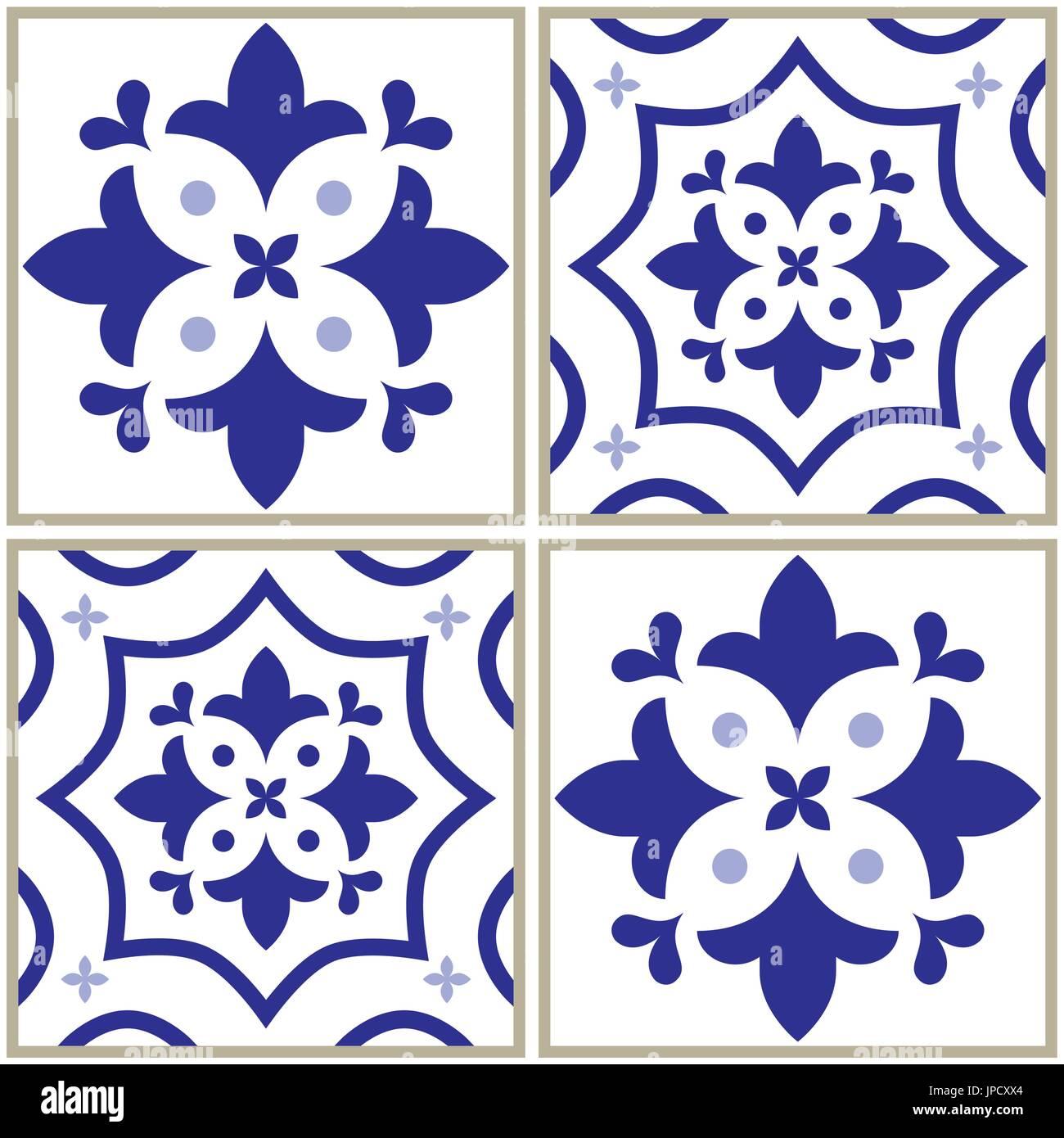 Motif Carreaux Carreau Espagnol Ou Portugais Fond Bleu Des