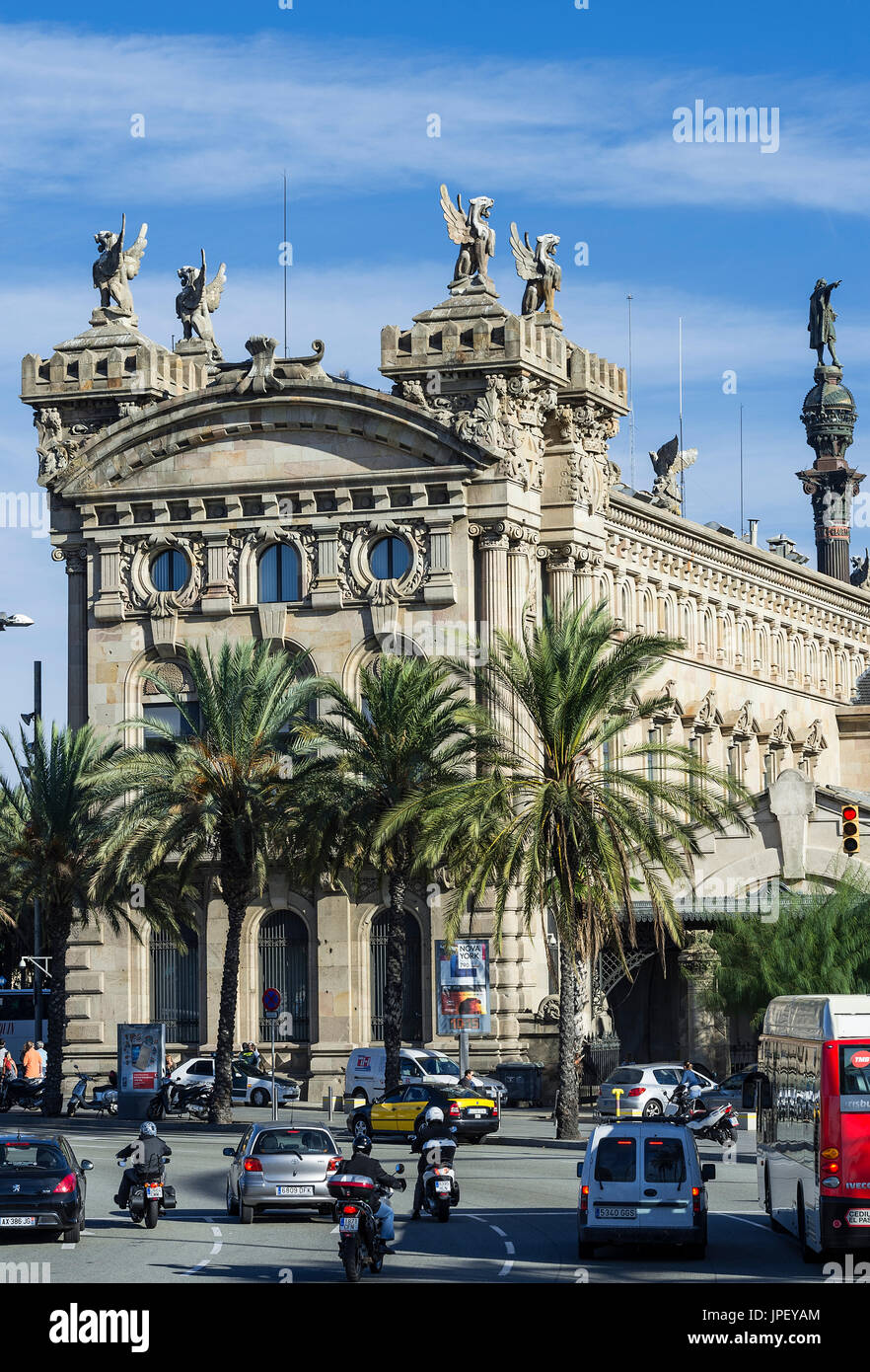 Ancien Custom House, Port Vell, Barcelone, Espagne. Photo Stock