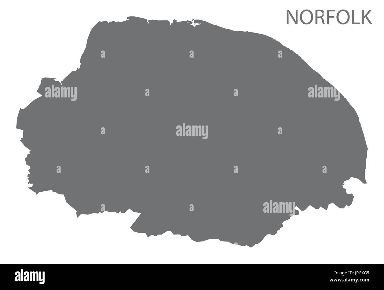 Carte Norfolk Angleterre.Carte Du Comte De Norfolk England Uk Gris Illustration Forme