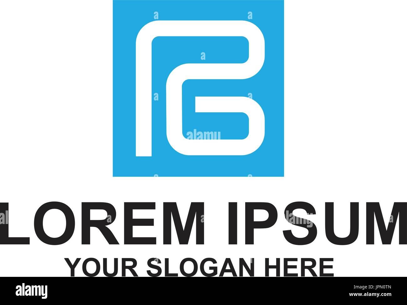 Connceted PG lettre à l'intérieur d'un carré, conception de logo, isolé sur fond blanc. Photo Stock