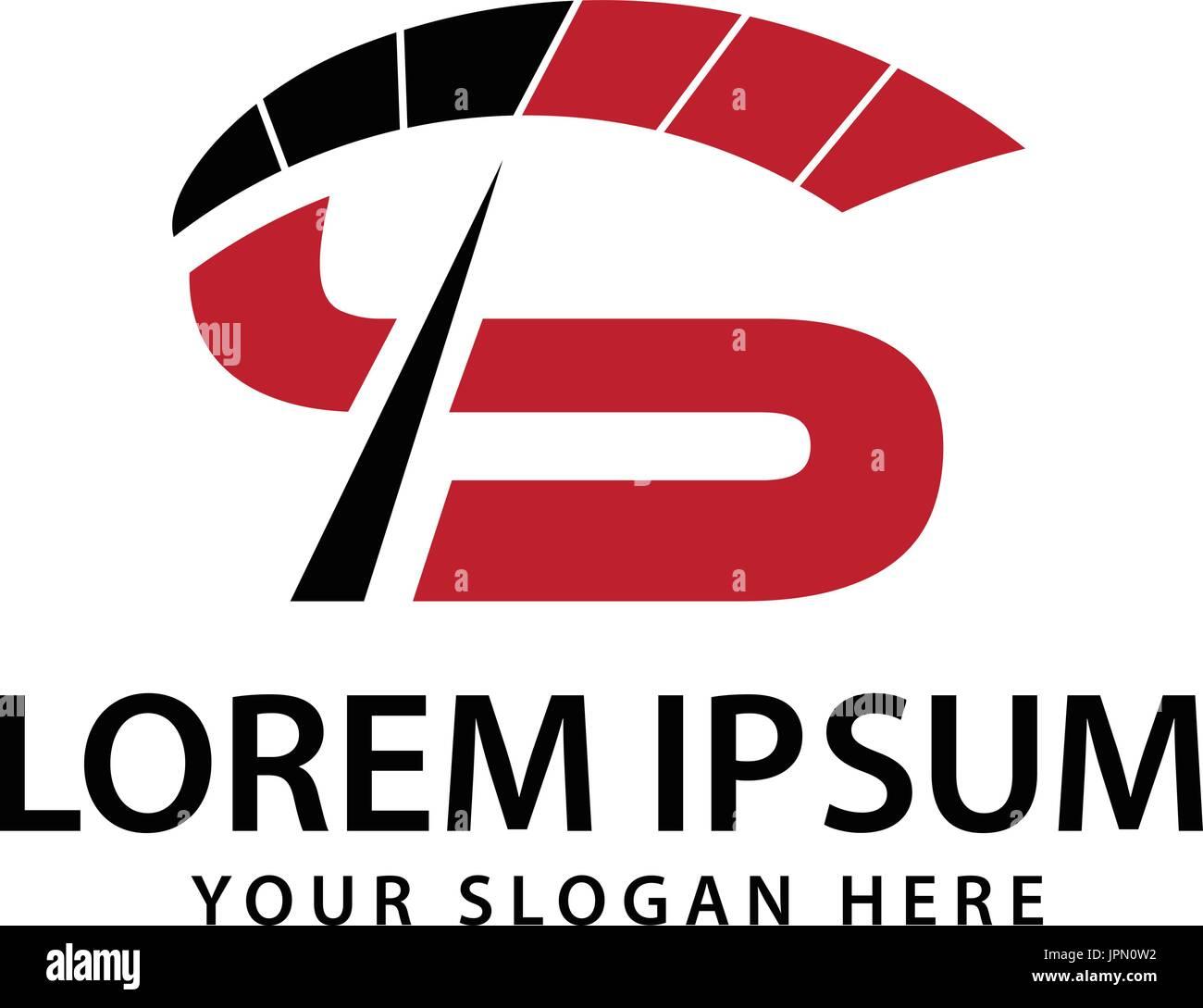 Lettre S avec compteur de vitesse, conception de logo, isolé sur fond blanc. Photo Stock