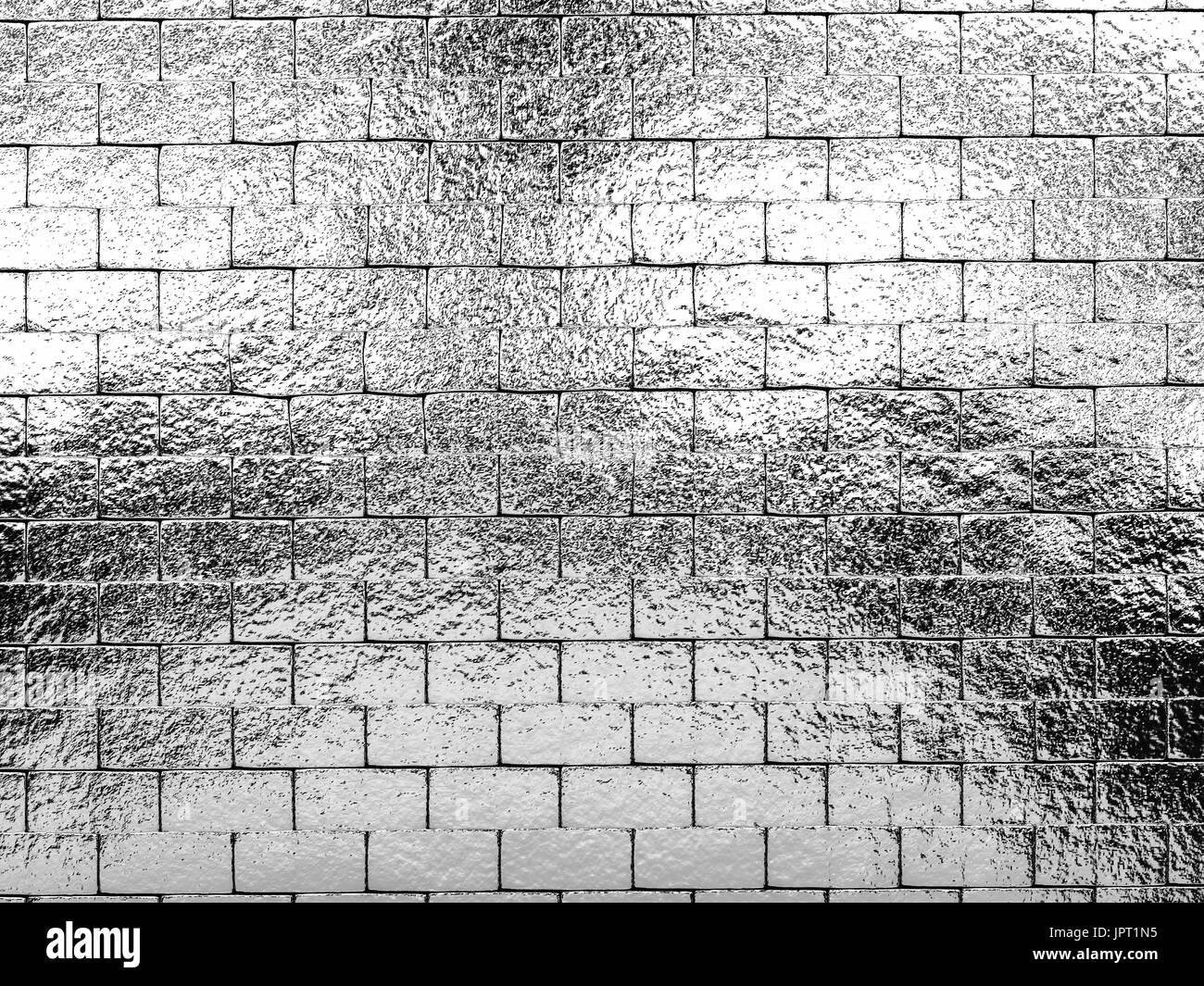 Le rendu 3d argent brillant wall background Photo Stock