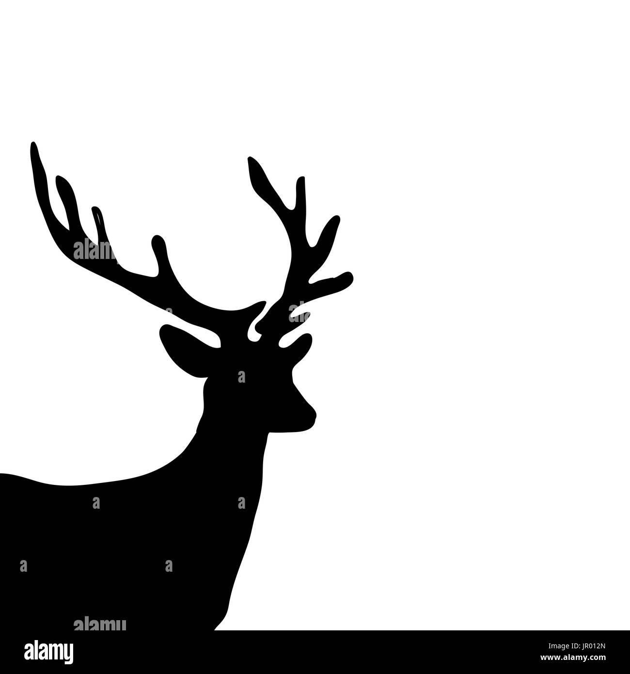 Silhouette Noire Cerf Tête Fond Blanc Vecteurs Et