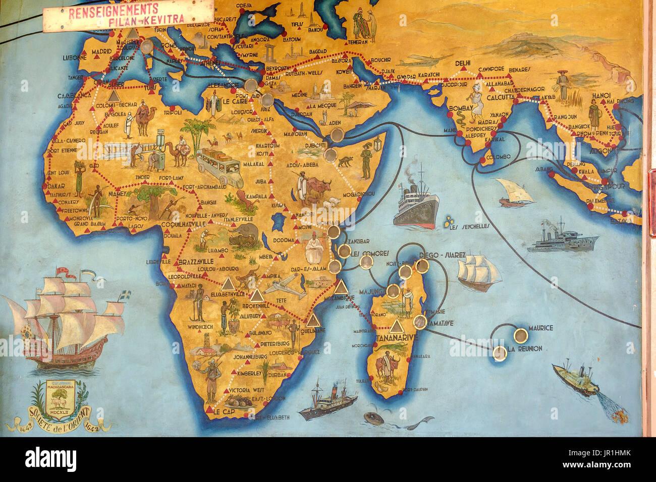 Carte murale coloniale antananarivo madagascar le bureau de poste