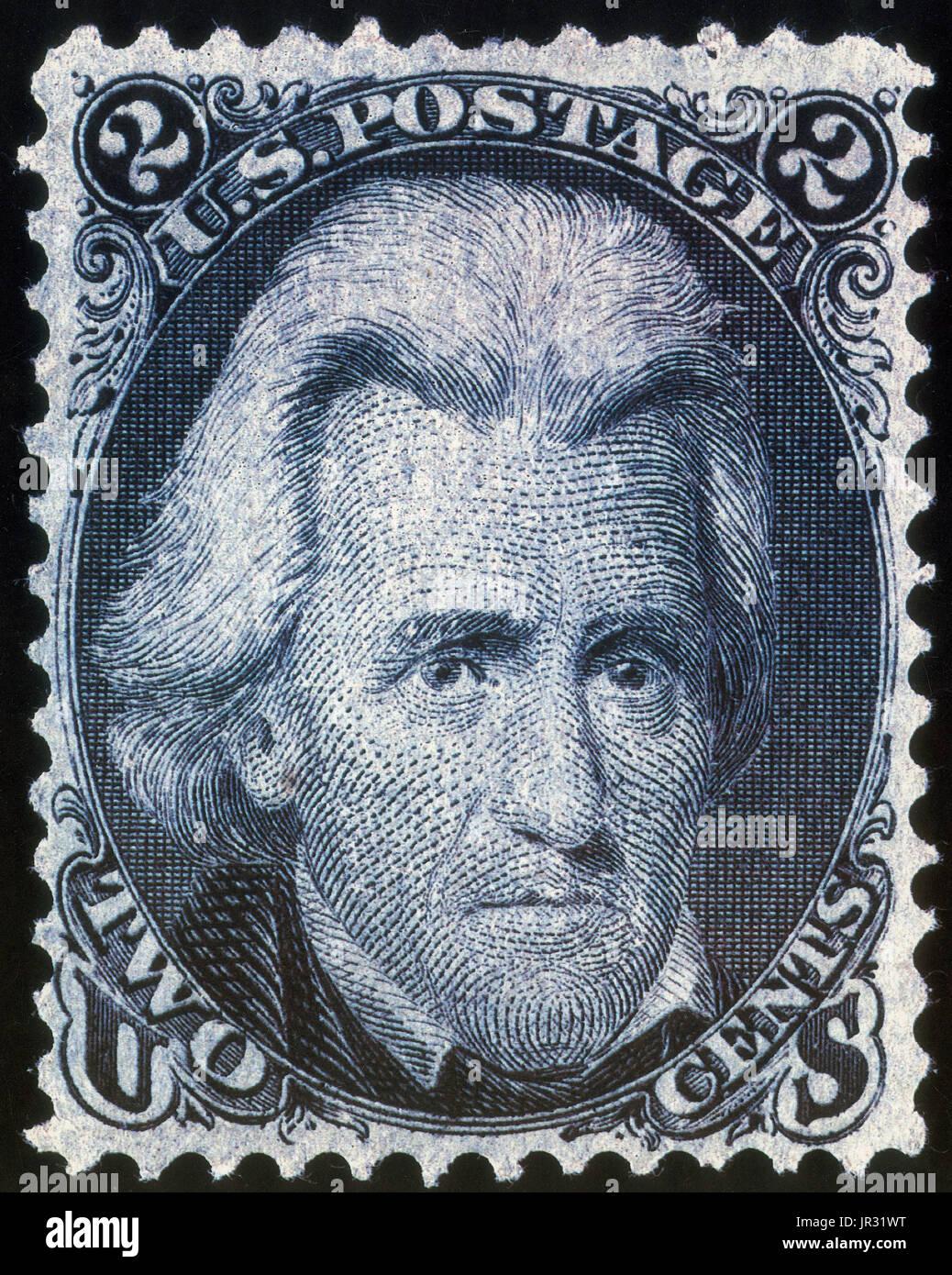 Blackjack Black Jack ou était le 2¢ dénomination United States Postage Stamp émis à partir du 1er juillet 1863 à 1869, est généralement appelé 'Black Jack' en raison du grand art du portrait du président des États-Unis, Andrew Jackson sur son visage imprimé en noir. Le timbre fut émis pour répondre à un besoin d'un taux réduit, 2¢ dénomination pour journaux, magazines, et des livraisons locales; et a souvent été utilisé pour 'make up' un taux plus élevé, ou divisé en deux pour obtenir des doses plus faibles (1¢) en raison de la pénurie de timbres au bureau de poste local. Pendant la guerre civile, le 'Black Jack' est censée avoir été favorisée Banque D'Images