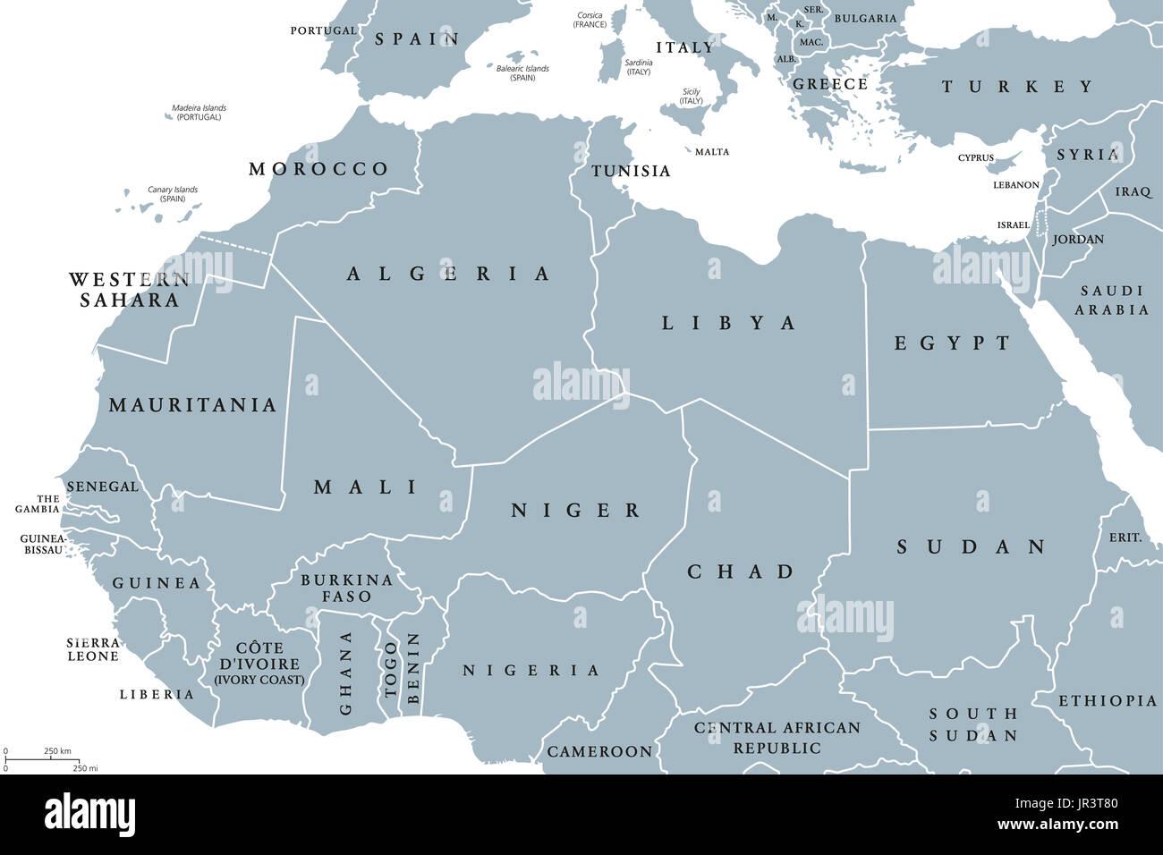 Carte De Lafrique Maghreb.Les Pays De L Afrique Du Nord Une Carte Politique Avec Les