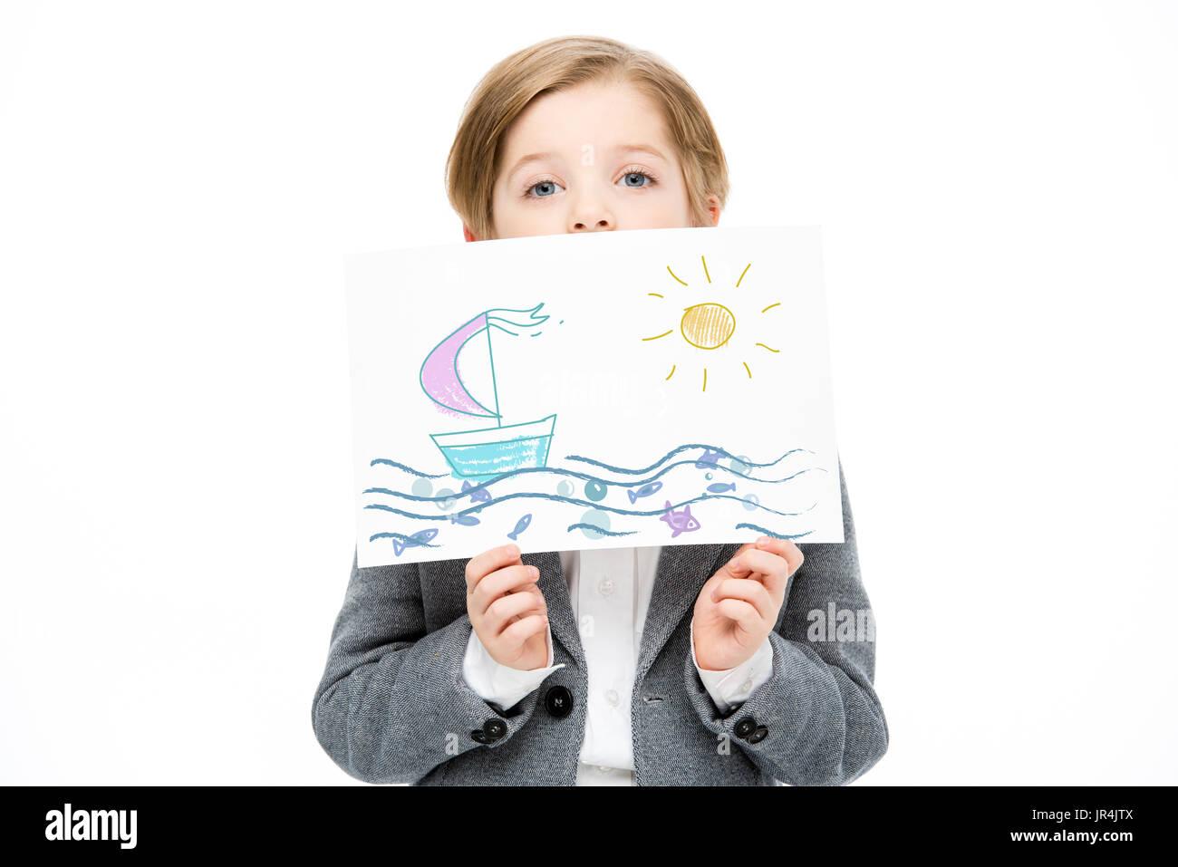 Petit enfant avec la peinture Photo Stock