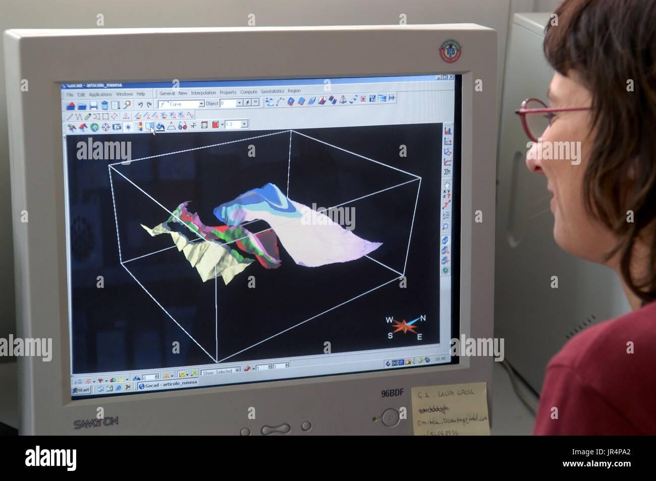 L'Université Bicocca de Milan (Italie), département de Sciences de l'environnement, les laboratoires de la cartographie numérique. Photo Stock