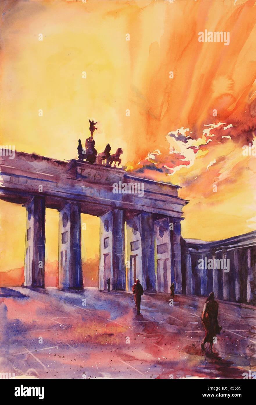 Peinture de silhouette de Porte de Brandebourg au coucher du soleil dans la ville de Berlin- Allemagne, Europe Photo Stock