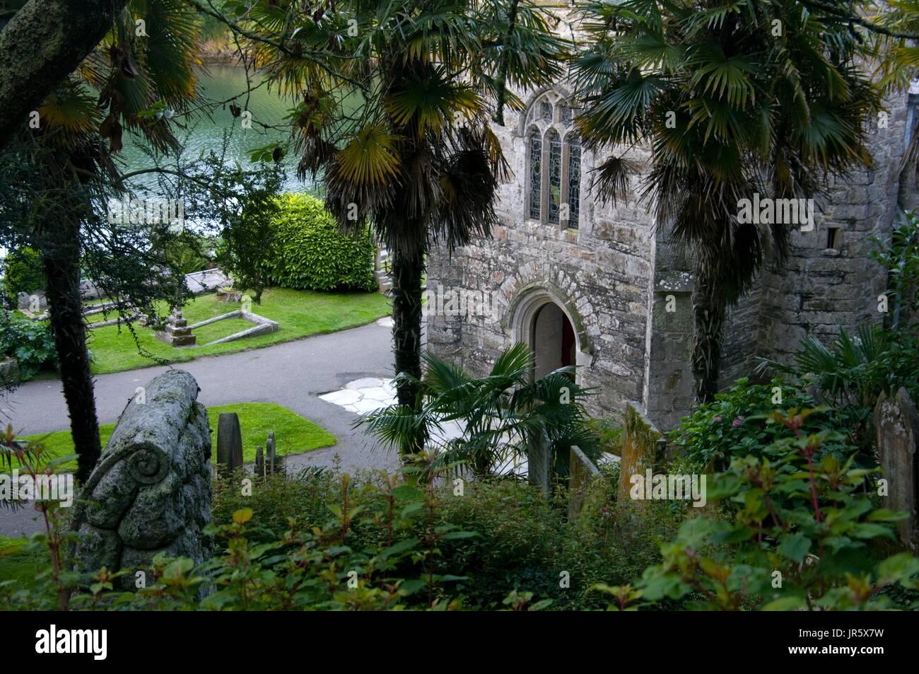 L'église St Just à Roseland, Cornwall, Angleterre Photo Stock