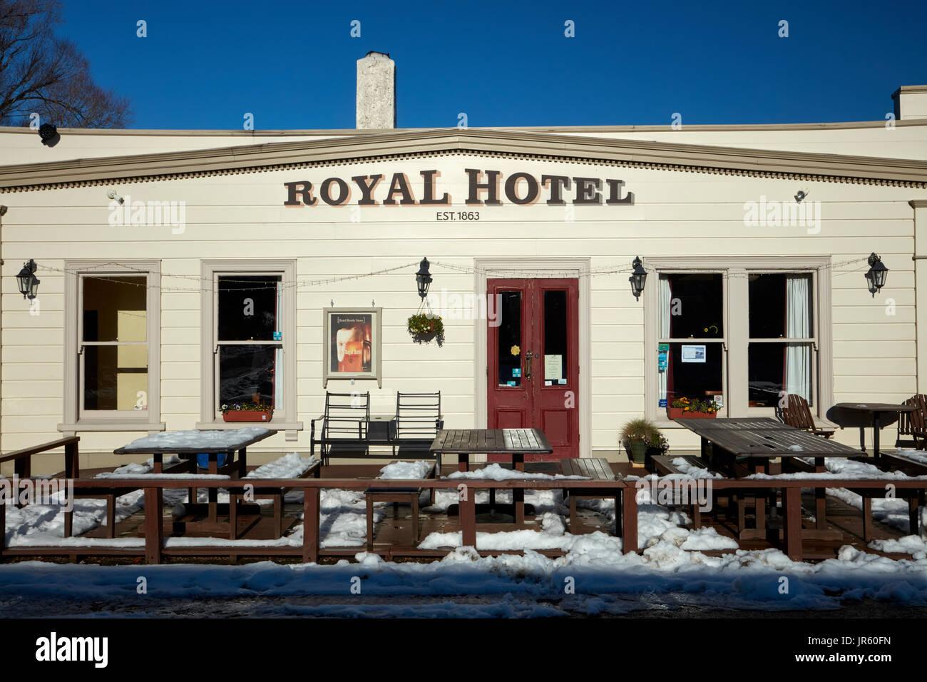 Royal Hotel (1878) en hiver, Balmoral, Maniototo, Central Otago, île du Sud, Nouvelle-Zélande Banque D'Images