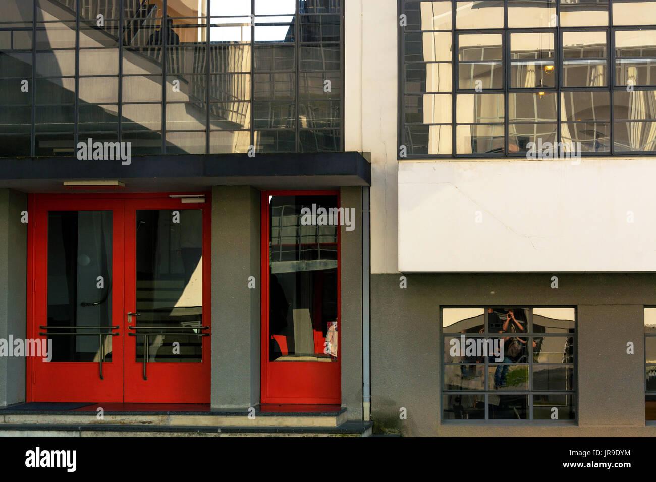Le Bauhaus à Dessau 1925 conçu par l'architecte Walter Gropius. Les bâtiments de l'école de design, art et architecture. Banque D'Images