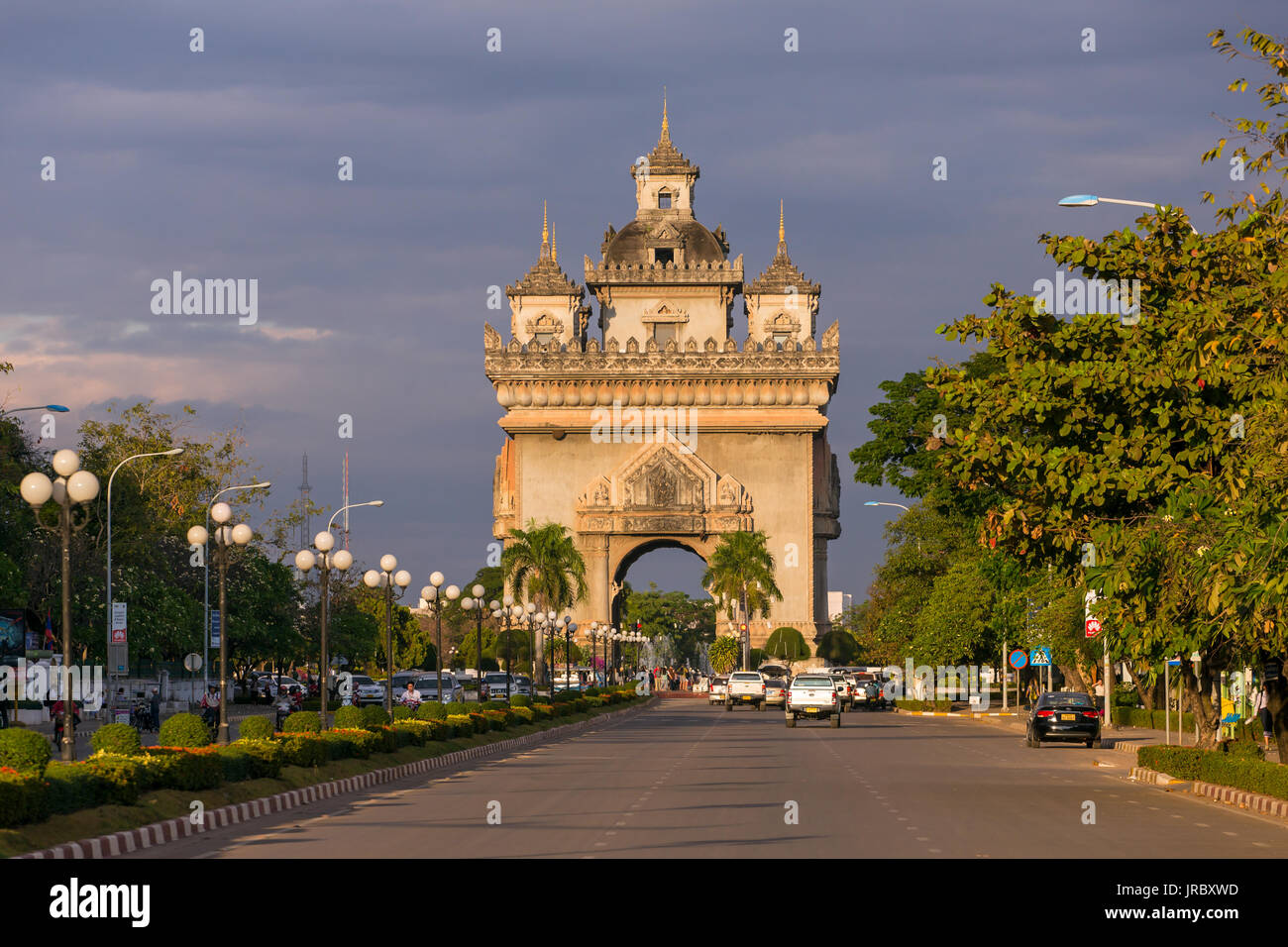 Patuxai monument à Vientiane, Laos Banque D'Images
