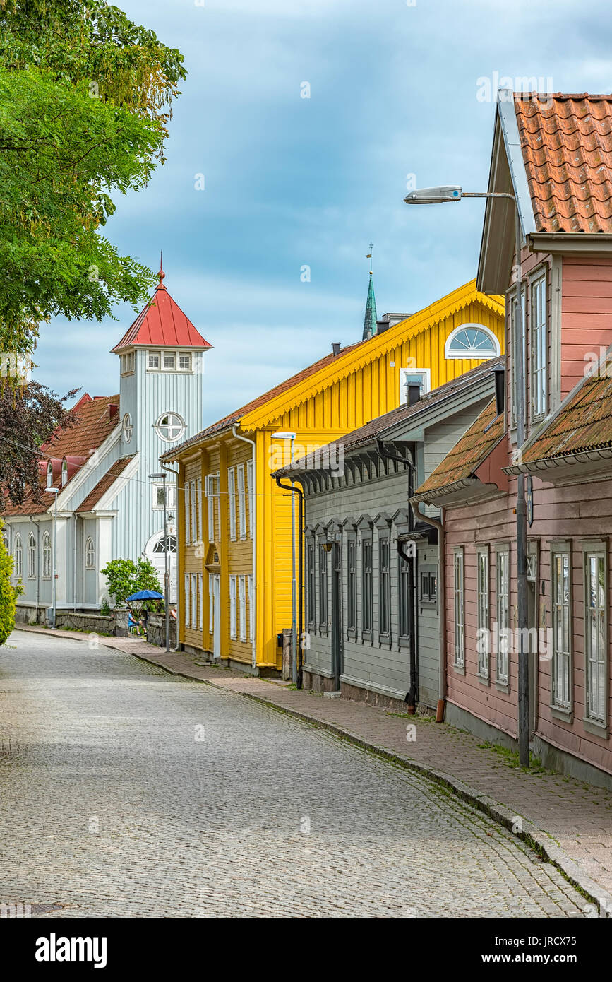 Scène de rue de la ville suédoise de Kungalv. Photo Stock