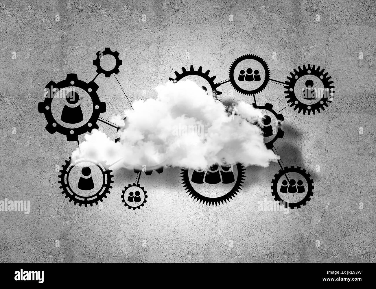 Technologies sans fil pour la connexion et le partage des données comme abstrac Banque D'Images