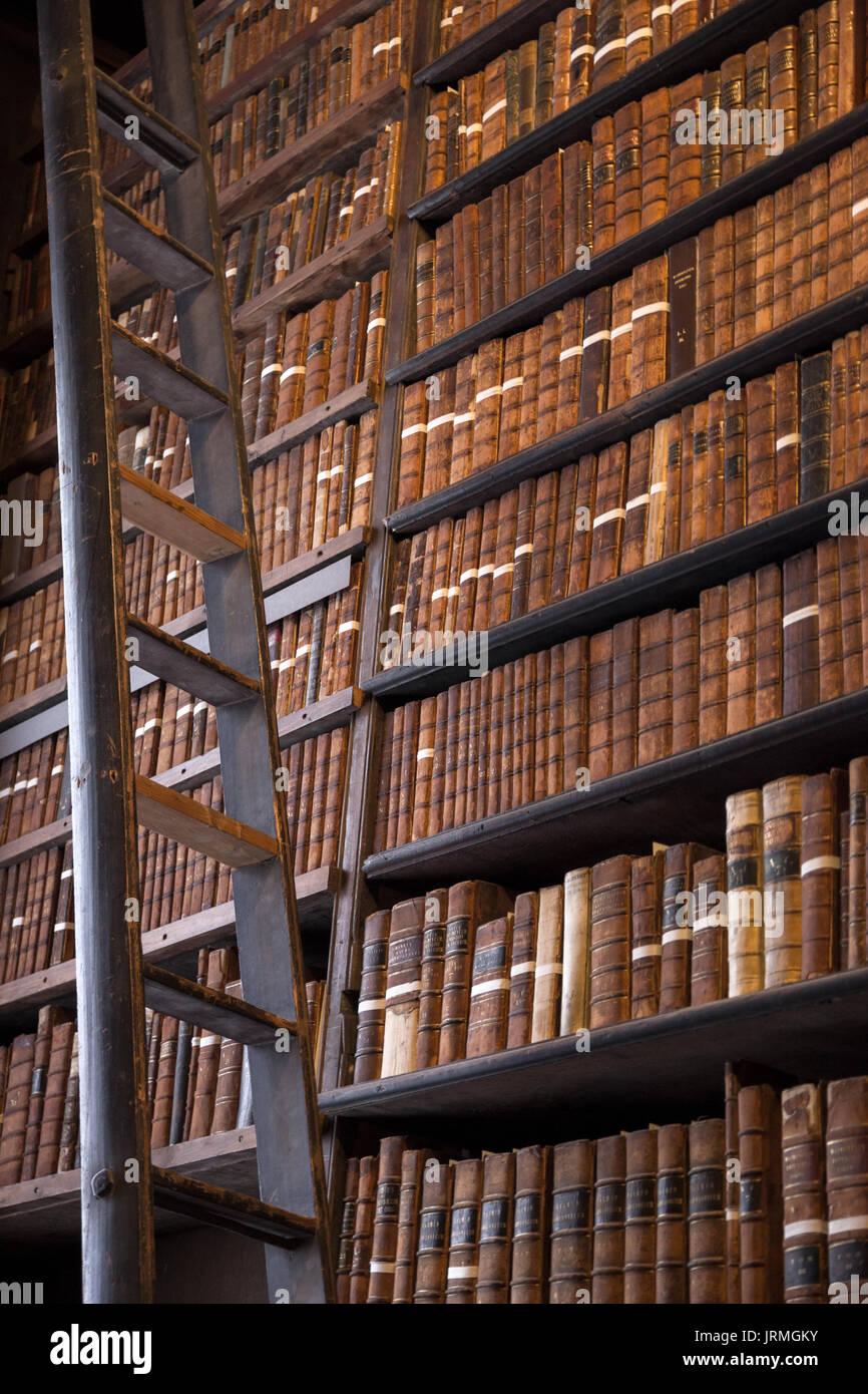 biblioth que vintage avec de vieilles tag res de livres anciens et d 39 une chelle en bois banque. Black Bedroom Furniture Sets. Home Design Ideas