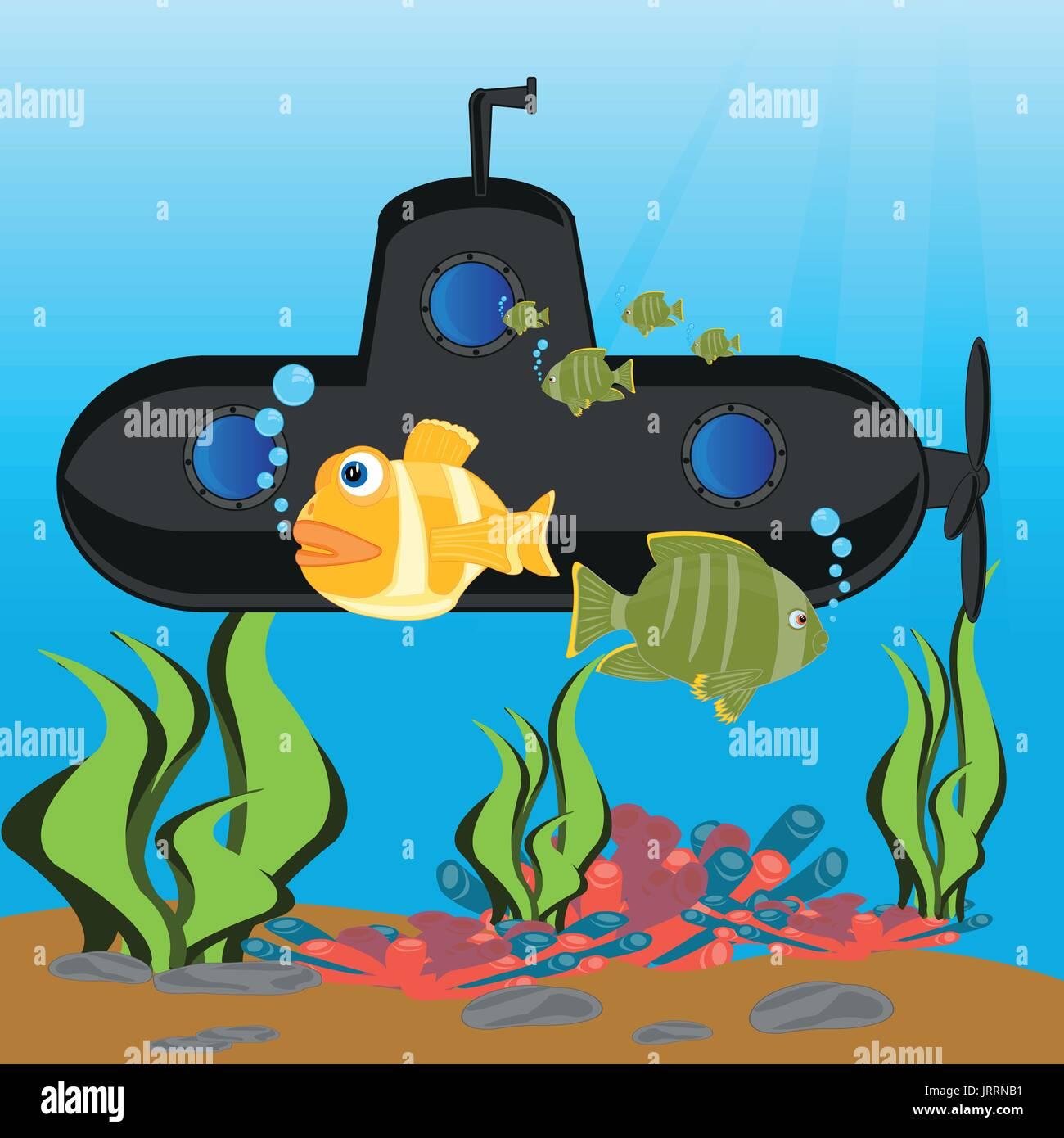 À la profondeur sous-marin ocean Photo Stock