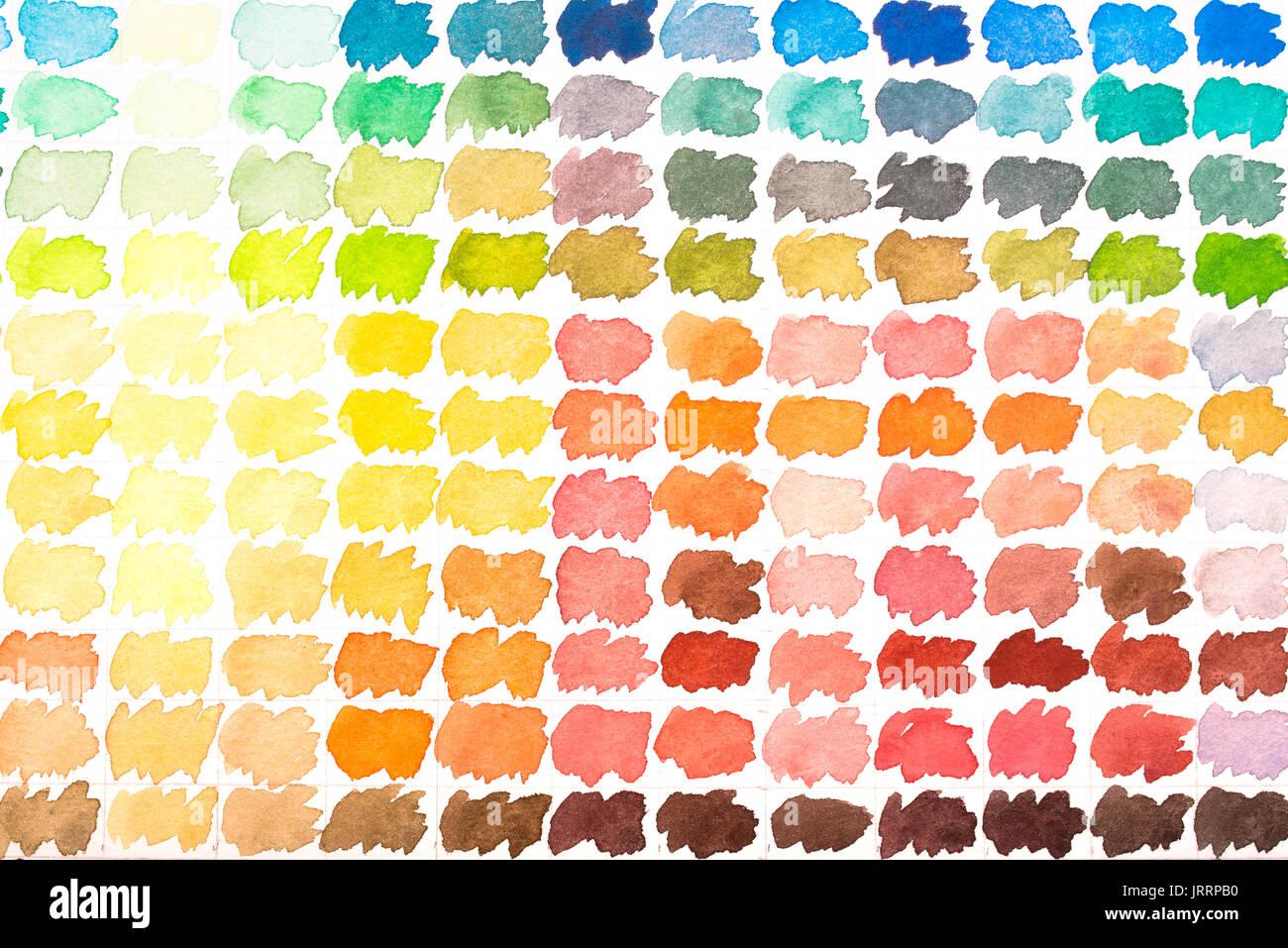 Palette De Couleurs à Laquarelle Rouge Jaune Vert Bleu Gris Et