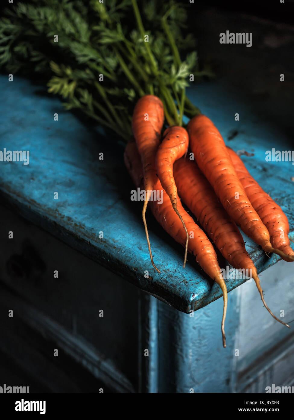 La récolte de carottes bouquet fraîcheur carotène Vitamine antioxydante pour recettes Photo Stock