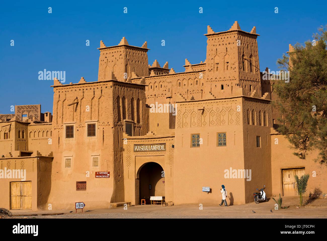 Hôtel Kasbah Amridil, vallée du Dadès, Skoura. Le Maroc, Maghreb, Afrique du Nord Photo Stock
