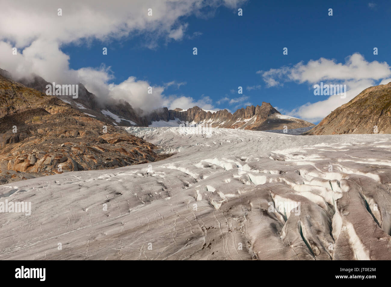 Le glacier du Rhône dans les Alpes Euoprean de Suisse. Photo Stock
