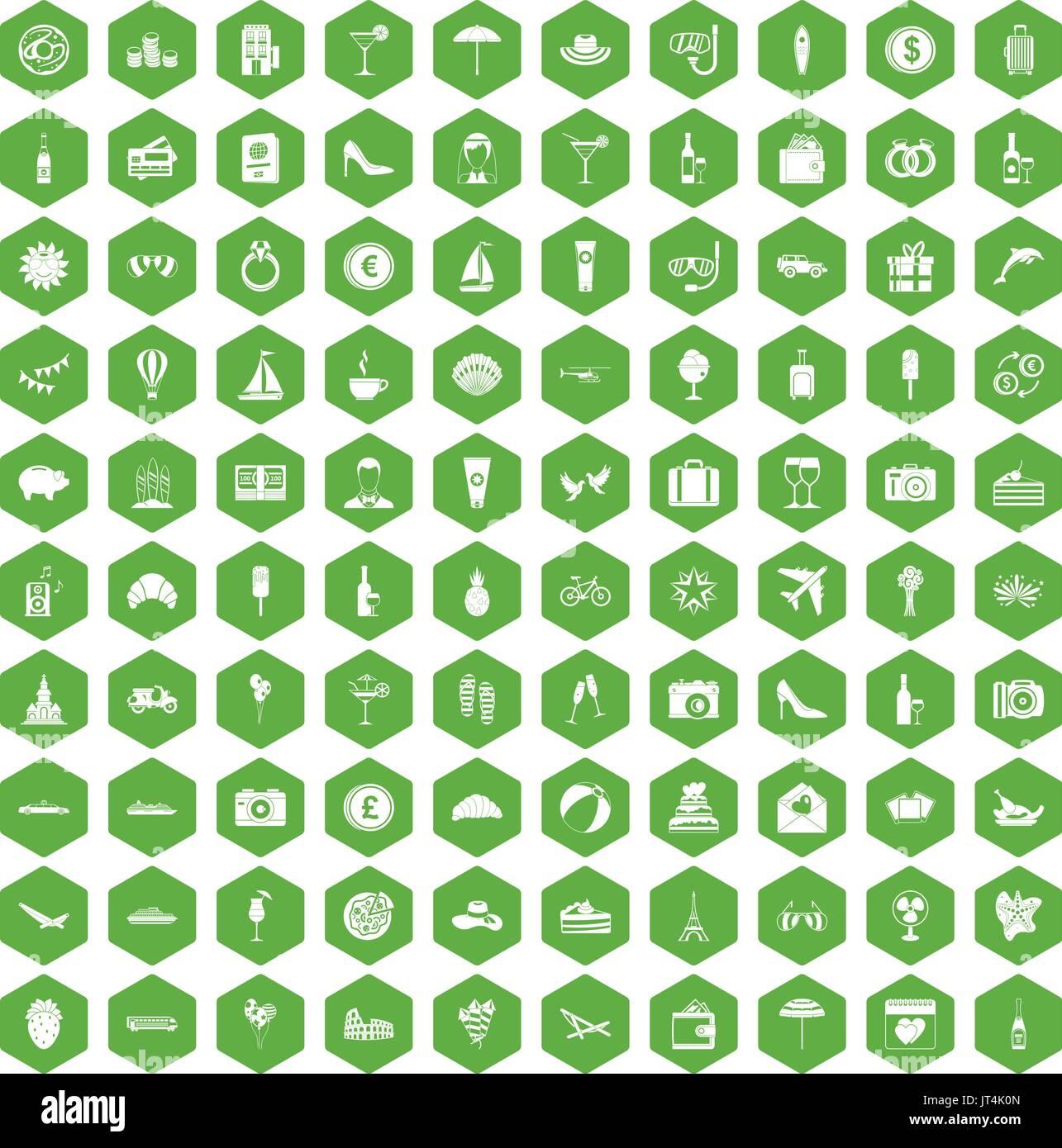 100 icônes de miel vert hexagonal Illustration de Vecteur