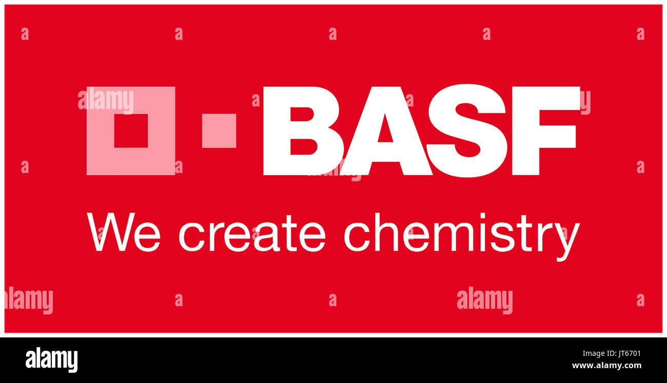 BASF Nous créons de la chimie, de l'entreprise chimique allemande, le logo de la société, le DAX 30 entreprises Photo Stock
