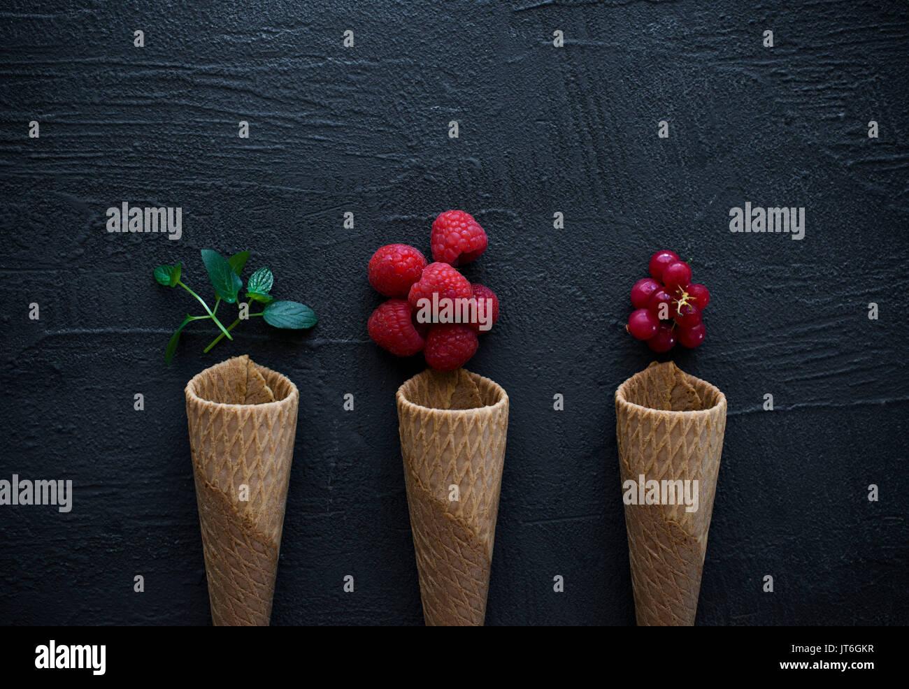 Les gaufres de crème glacée Photo Stock