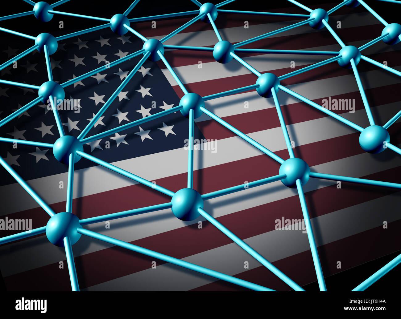 Réseau de données américaines et United States communicaions et technologie de sécurité internet réseaux sociaux web hacking ou comme un 3D illustration. Photo Stock