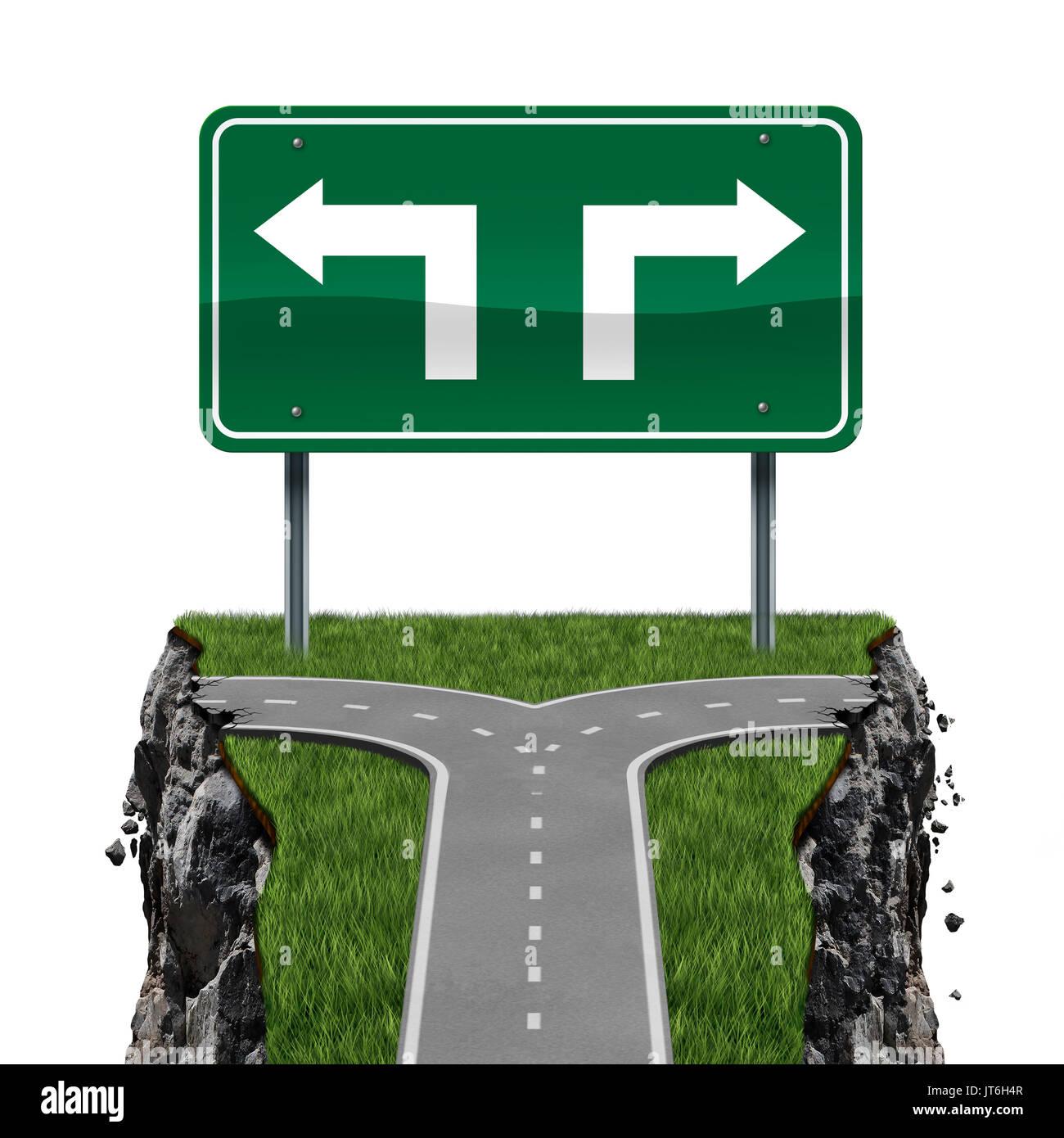 Options Impossible concept commercial et arriver à une impasse comme un carrefour routier ou conduisant à un manque d'occasion. Photo Stock
