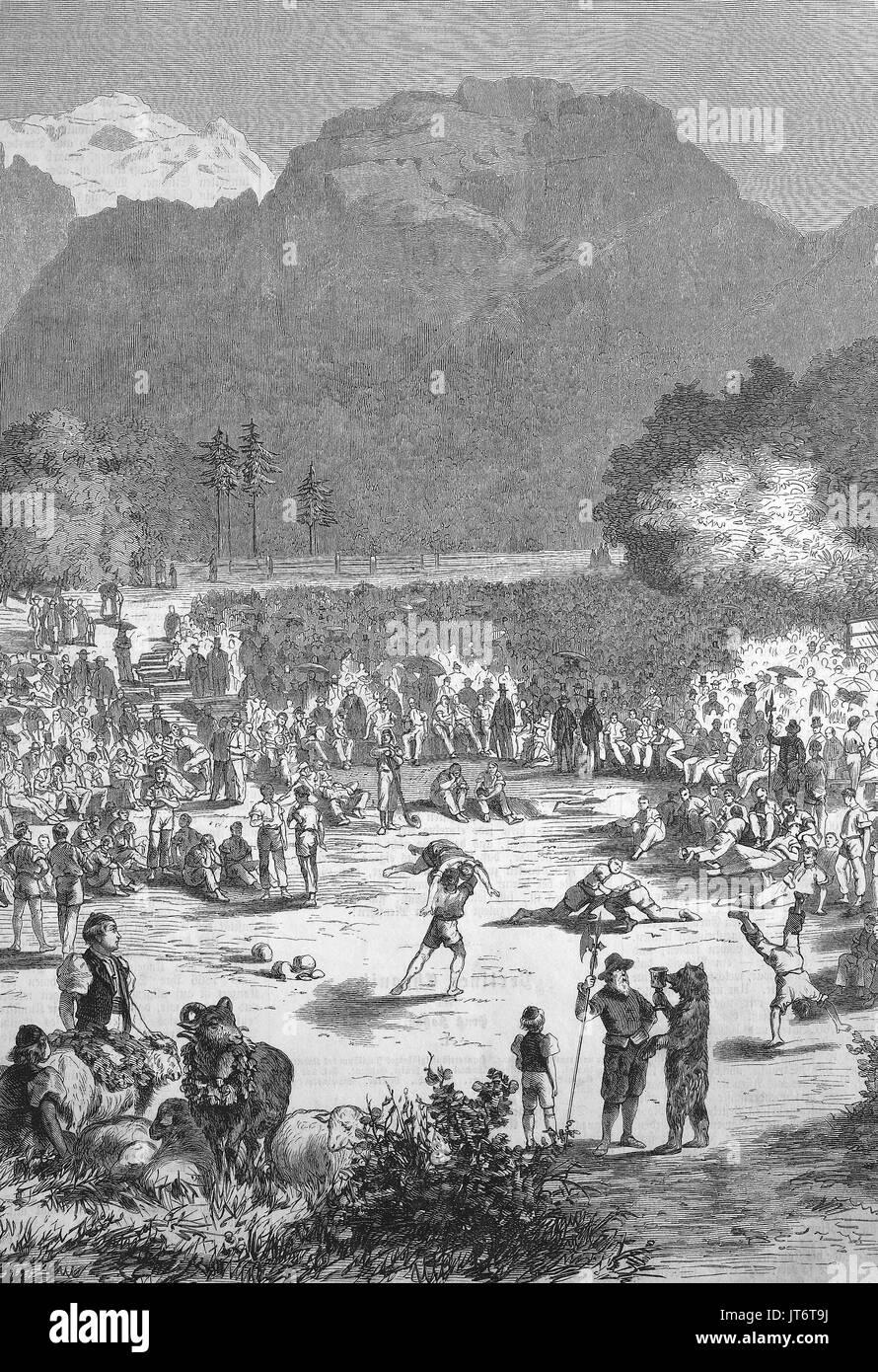 Un Schwingerfest à Interlaken, Suisse, Schwingen également connu sous le nom de Swiss wrestling et Hoselupf, culottes-levage, est un style de lutte folk originaire de Suisse, l'amélioration numérique reproduction d'une image publié entre 1880 - 1885 Photo Stock