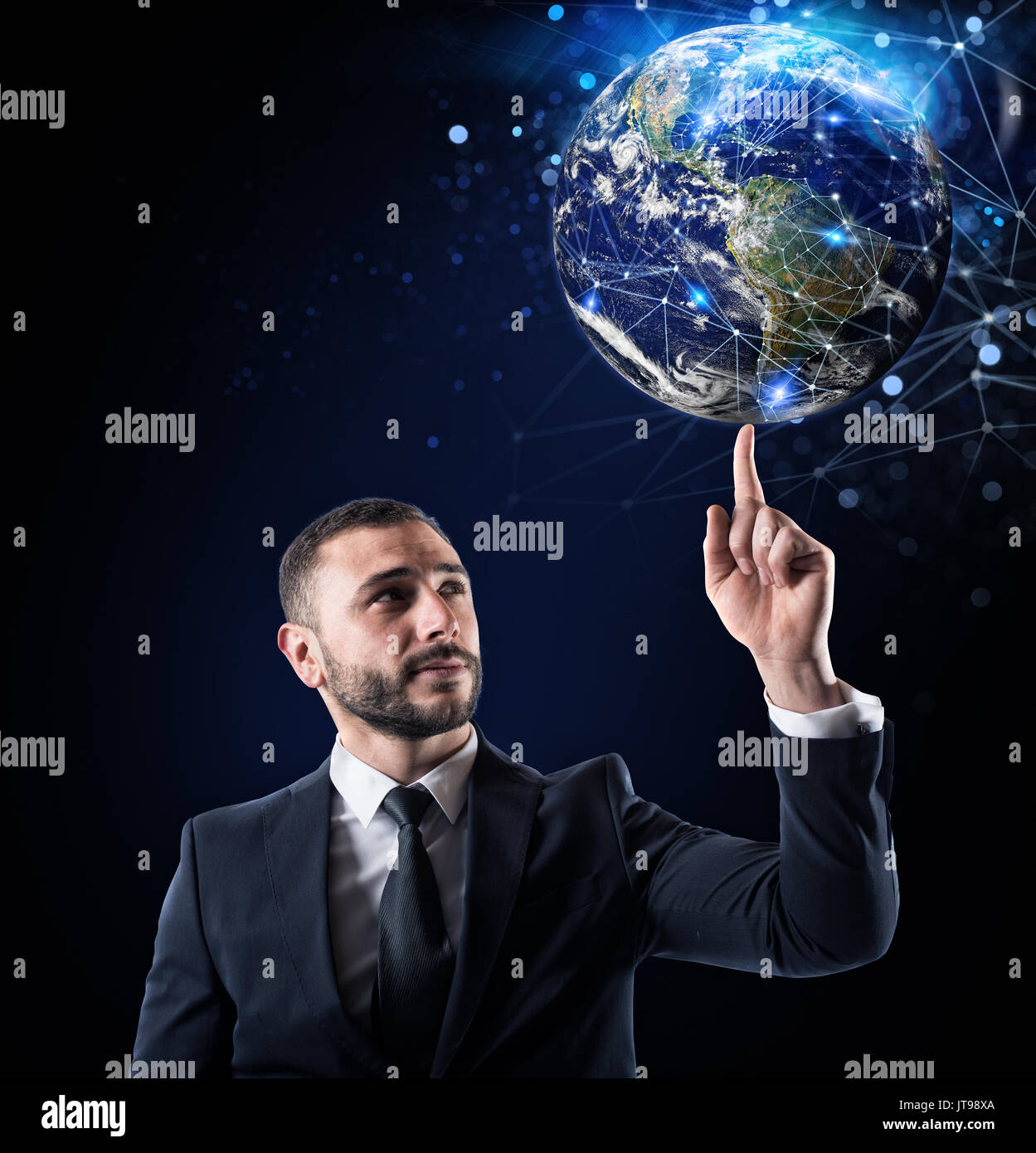 Connexion internet Global concept. Monde fournie par la NASA Photo Stock