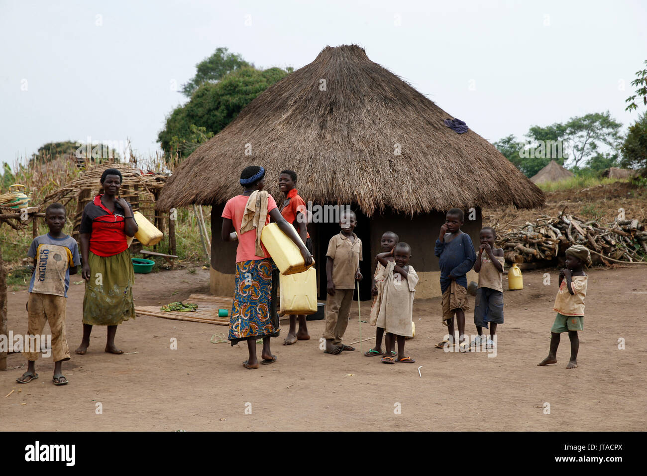 Village ougandais, l'Ouganda, l'Afrique Photo Stock