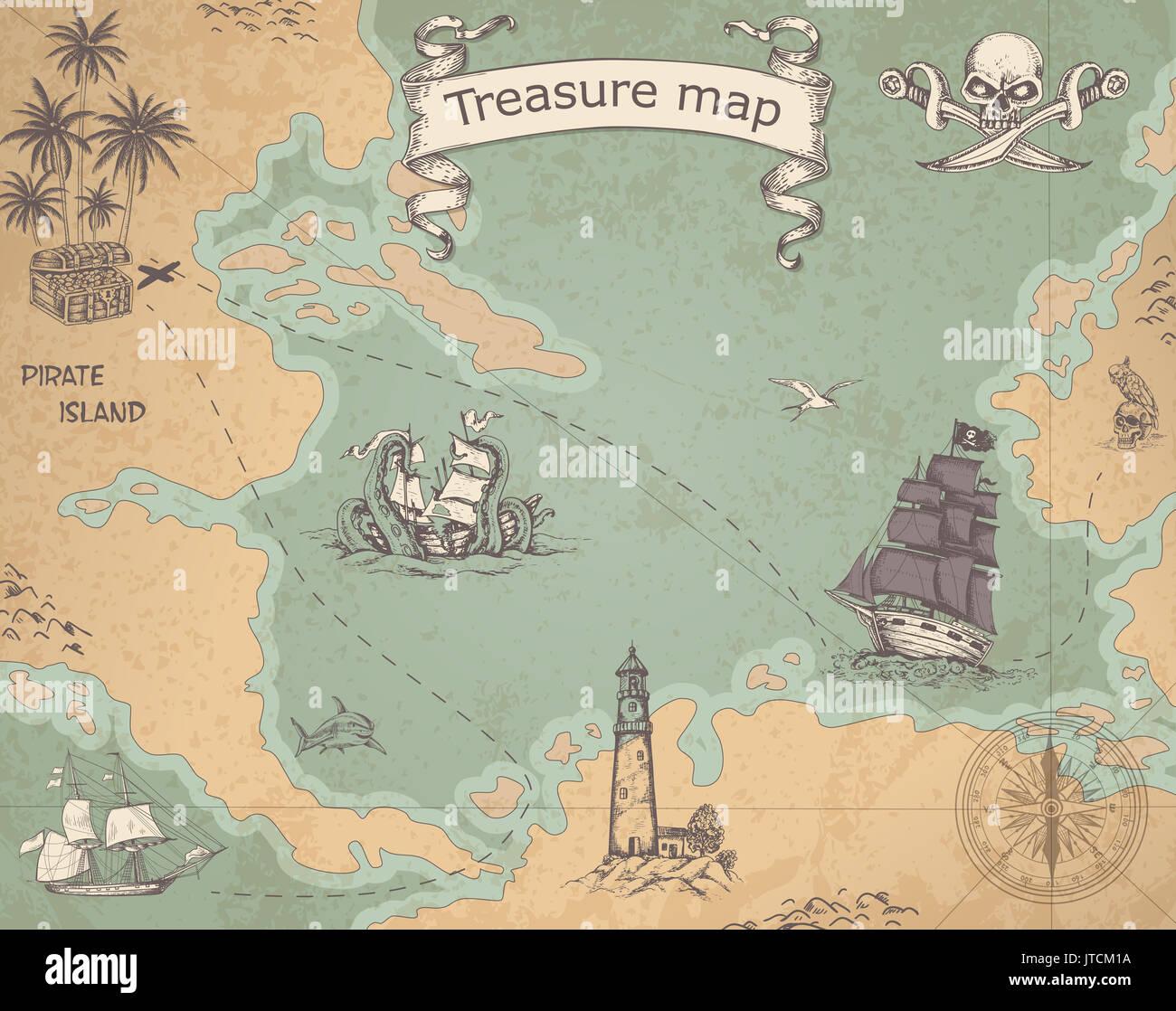 Carte pirate vintage avec les navires à voile. Ancienne carte au trésor  avec des navires et de la boussole.